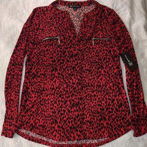 INC V-Neck Leopard Print Petite Top
